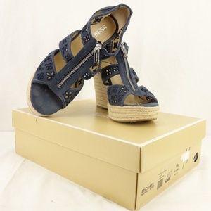 Michael Kors Damita Navy Blue Canvas Wedge Sandals